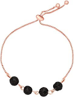 MANZHEN Adjustable 6mm Black Lava Stone Stretch Chain Bracelet Aromatherapy Essential Oil Diffuser Jewelry