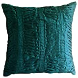 22x22 inch (55x55 cm) Decorative Pillow Covers, Royal Peacock Green Pillow Cases, Textured Pintucks Solid Color Decorative Pillows Cover, Art Silk Cushion Covers - Royal Peacock Green