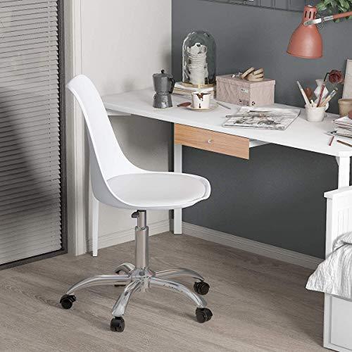 Mesas y sillas de ordenador personal, sillas de ordenador ajustables en altura para sillas giratorias de oficina Salón Recepción,White