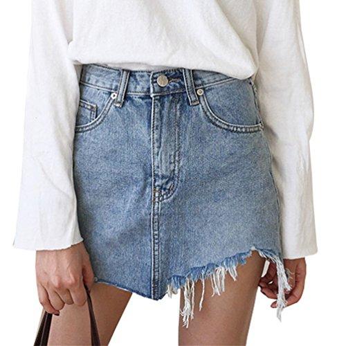 ZKOO Minigonna Donna Gonna Jeans Elasticizzata Sfrangiata Asimmetrica Nuova M