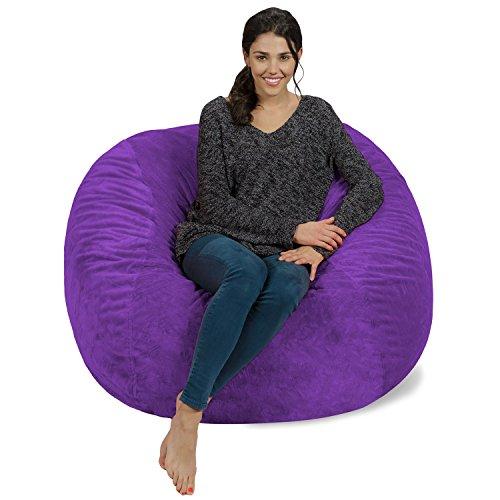 Chill Sack Bean Bag Chair: Giant 4' Memory Foam Furniture Bean Bag - Big Sofa with Soft Micro Fiber Cover - Purple Furry