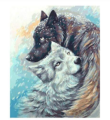 Paint by Numbers, DIY Oil Painting Single Boat Canvas Print Wall Art Twee wolven knuffelen in de sneeuw Woondecoratie Valentijnsdag geschenk 40x50cm