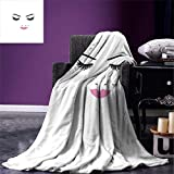 BAIYANGYANG Manta de Tiro de pestañas Ojos Cerrados Lápiz Labial Rosa Maquillaje de Glamour Cosméticos Belleza Diseño Femenino Manta de Microfibra cálida