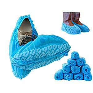 Blue Shoe Guys Premium Disposable Boot & Shoe Covers | 100 Pack | Durable, Water Resistant, Non-Slip, Non-Toxic, Recyclable, 100% Virgin Fabric | Stretchable Up To US Men's 12 & Women's 14 Shoe Sizes