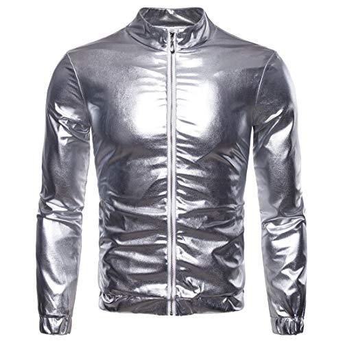 BJHIOJ Herren Jacke Slim Fit Metallic Shiny Glitter Blouson Kostüm Für Nachtclub Party Tanzen Disco Halloween Cosplay,Silber,S