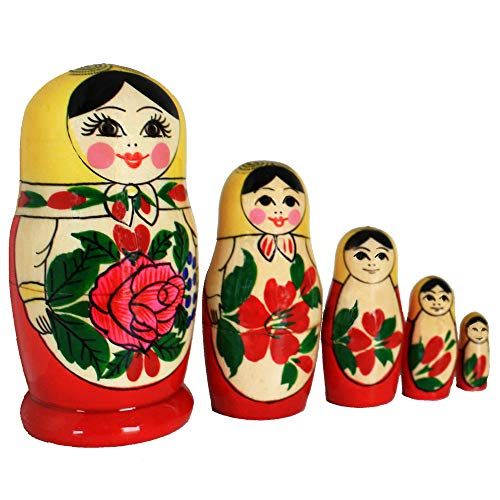 Semenovskaya Rospis original russische Matroschka Puppen Babuschka Matrjoschka Holzpuppen klassisch Set in 5 Figuren (5 Puppen 11 cm gelbes Tuch)