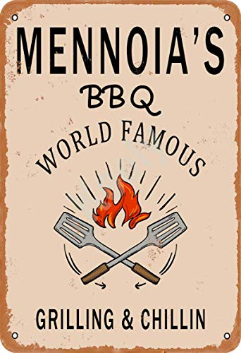 Keely Mennoia'S BBQ World Famous Grilling & Chillin Decorazione da Parete in Metallo Vintage con targhetta in Metallo 12x8 Pollici per Bar, ristoranti, Pub, Uomo, Grotta Decorativa