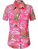 SSLR Womens Flamingo Shirt Casual Short Sleeve Hawaiian Shirts for Women (Medium, Rose Red)