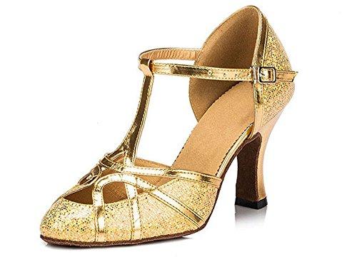 Honeystore Neuheiten Frauen\'s Funkelnde Glitzer Heels Sandalen Latin mit Schnalle Tanzschuhe Gold 35 CN