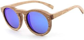 Coated Wooden Legs Men Women Polarized Sunglasses Retro Round Wooden Sunglasses (Color : E Blue, Size : Free)