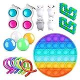 Bartholomew Juguete antiestrés para niños y adultos, para relajar sensorial, burbuja, bolas luminosas de pared adhesivas, paquete de juguetes de estrés, sensorial barato o caja con Rainbow Pop Adhd
