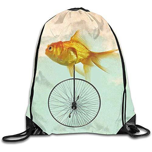 Dusk Fort Kordelzug Taschen Einrad Goldfisch Unisex Gym Kordelzug Umhängetasche Rucksack Reiseschule Rucksack String Taschen