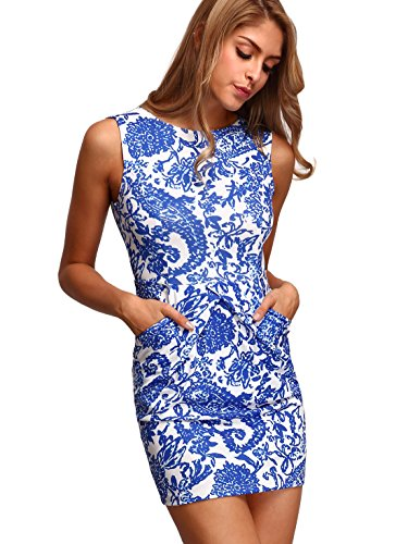 Floerns Womens' Pocket Sleeveless Tribal Print Bodycon Dress