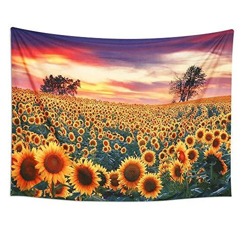 YANGYUAN Girasol amarillo tapicería de la pared de la planta floral de la naturaleza del paisaje tapiz de la decoración del hogar tapicería de la pared de la sala de estar decoración del dormitorio de