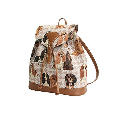 Signare Modischer Damen Rucksack aus Leinengewebe mit kleinen Klappschnallen Stil Cavalier King Charles Spaniel