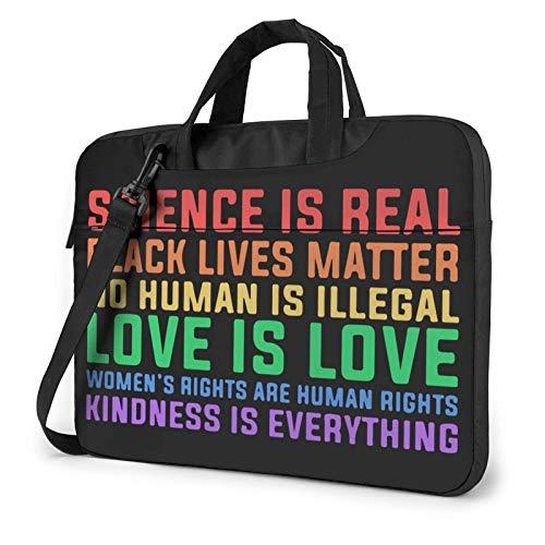 15.6 inch Laptop Shoulder Briefcase Messenger Science is Real Lives Matter Tablet Bussiness Carrying Handbag Case Sleeve