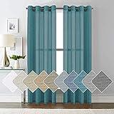 ForenTex Cortinas Confección 145x260cm Visillos para Ventanas Puertas de Salón Habitación Dormitorio Terraza, Polyester, Azul Verde G-0575, 145x260 cm