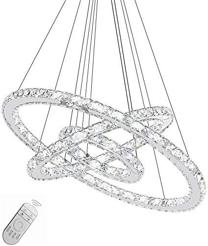 Generic 72W LED Kronleuchter Hängelampe Kristall Pendelleuchte Drei Ringe Perlen Hängeleuchte Dimmbar mit Fernbedienung