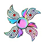 Premium Flower Fidget Spinner Metal,Spinning Toys Small Sensory Gadget Finger Hand Spinner Low Noise Focus Toy with High Speed Stainless Steel Bearing,Best Gift Party Favors Prizes for Kids Adults