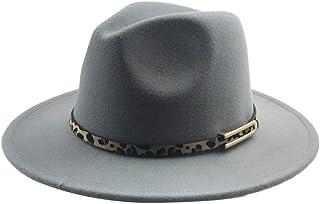 SHENTIANWEI Men Women Fedora Leopard Leather Belt Fedora Hat Wool Blended Hat Outdoor Casual Hat Top Jazz Hat Panama Hat