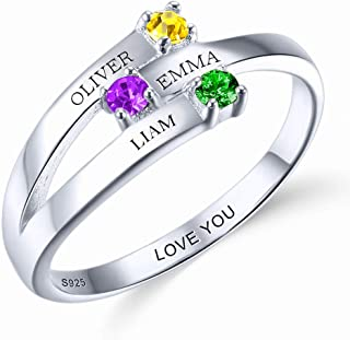 Shirly Mother Ring with 4 Names Engraved Ring with 4 Simulated Birthstone Ring Size 3-14 Engraved Name Stacking Band Ring