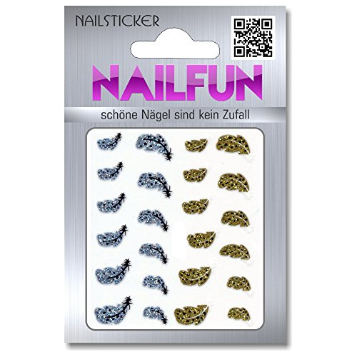 1 Bogen selbstklebende Nailsticker XK-067 BLE1019D Federn silber gold - Nail-Sticker Nail-Tatoos
