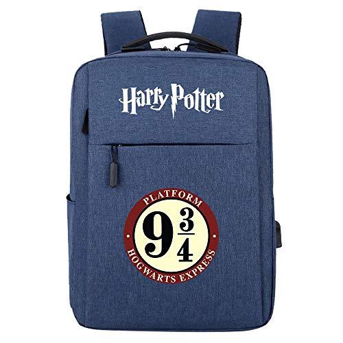 Zaino per laptop ultraleggero, con porta di ricarica USB, zaino casual confortevole resistente GXB100 Harry Potter blu