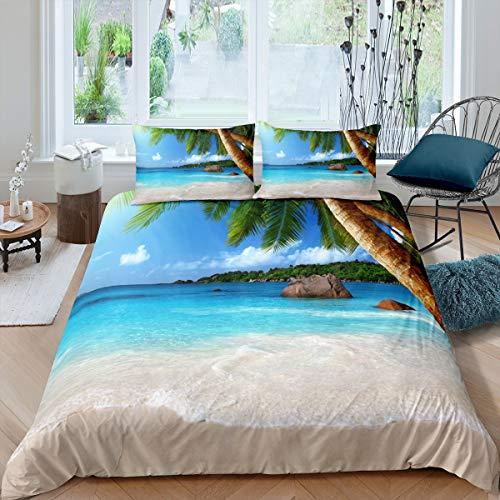 Feelyou Bettwäscheset für Jungen & Mädchen, Doppelbett, für Kinder, Teenager, Strand, 3D-Sommer-Ozean-Bettdecke, Hawaiianische tropische Palme, Tagesdecke, blau & grün, gesteppt, luxuriös, weich