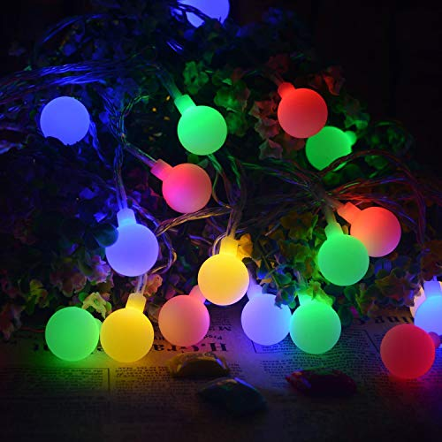 String Lights LED Outdoor Globe Shape Flashing Lights 8.9ft 20 LED Decorating for Bedroom Christmas Party, Wedding, New Year, USB Powered(Colorful)