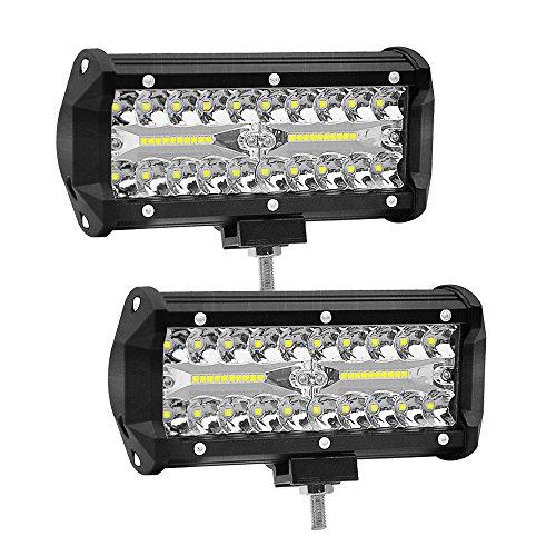 7 Zoll 120W LED Auto Arbeitsscheinwerfer WANYI 12000LM 6000K Zusatzscheinwerfer Arbeitsleuchten Led 12V/24V IP68 Wasserdicht Zusatzscheinwerfer Spot Flood COMBO Fog lights (2 Stück)