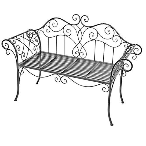 Mojawo nobele tuinbank zitbank van ijzer antiek design zitbank in landelijke stijl kleur grijs