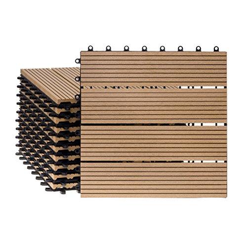 WPC Holz Kunststoff Fliesen Terrassenfliesen Klickfliesen Balkonfliesen 11 Stück (30x30 cm/Standard, natur)