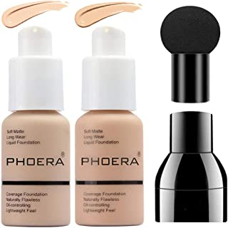 2 Colors PHOERA Liquid Foundation,Matte Full Coverage Foundation Makeup with Mushroom Head Applicator, Oil Control Flawless Concealer Cover Facial Blemish Foundation Makeup for Women (102# and 103#)