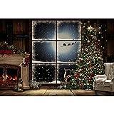 Fotografía, fondo de Navidad, árboles, ventanas, corona, invierno, nieve, fondo de foto, después de fotógrafo