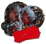 Gojoy Shop- Juegos de Vajilla Vidrio,Navidad,16 Piezas para
