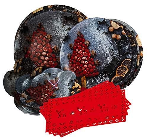 Gojoy Shop- Juegos de Vajilla Vidrio,Navidad,16 Piezas para 4 Personas,Contiene 4 Cuencos,Platos Ø 30cm,Platos Ø 25cm y Salvamanteles Rojos. (Color Oscuro- Set navideña)