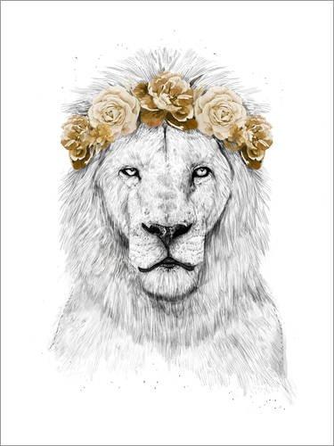 Posterlounge Acrylglasbild 60 x 80 cm: Löwe mit Blumenkranz von Balazs Solti - Wandbild, Acryl Glasbild, Druck auf Acryl Glas Bild