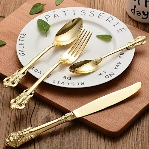 George zhang Hochwertige vergoldet 304 Edelstahl-Besteck Palace geschnitzt Steakmesser und Löffel Western-Stil Hotelgeschirr vierteilige Set