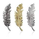Iwilcs Lot de 3 barrettes à cheveux en métal - Motif feuilles/plumes