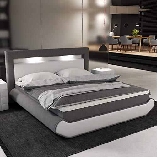 INNOCENT® - Cecina LED   180x200cm H3   Designer Boxspringbett in Weiss PU/Stoff Grau   Hotelbett Designerbett in Härtegrad H3