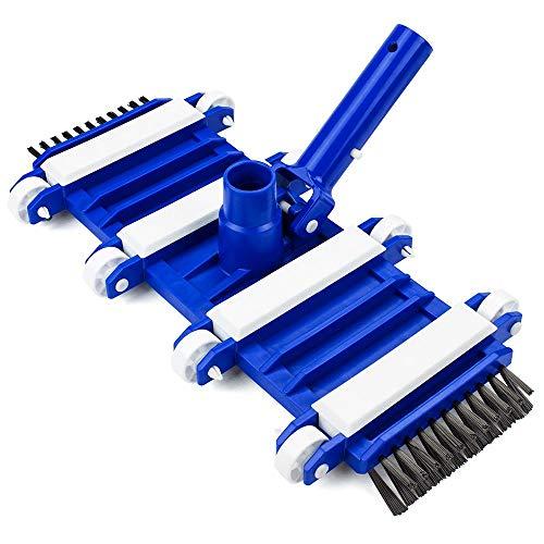 TOPVORK Cepillo de cabeza de aspiradora de piscina de 35,5 cm con cerdas laterales de nailon, accesorios de limpieza para piscina arriba/interior/bañera de hidromasaje