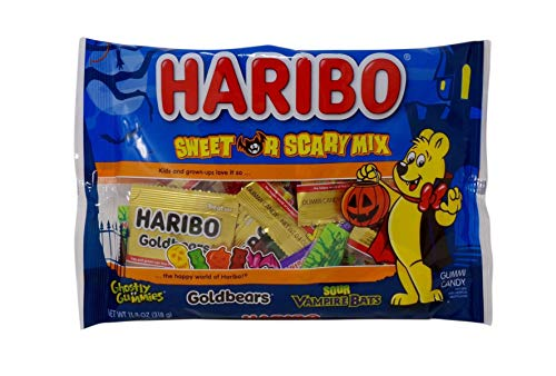 Haribo Sweet or Scary Mix Gummi Candy, Individual Pouches, 11.2 oz Bag