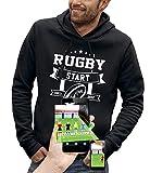 PIXEL EVOLUTION Sweat à Capuche 3D Rugby Start Jeux Video en Réalité Augmentée Homme - Taille M - Noir