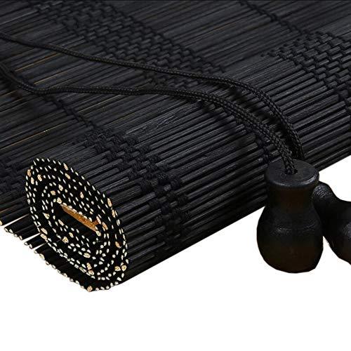 Jcnfa-rolgordijn zwart bamboe jaloezieën rolgordijnen, dikke en dunne bamboe, venster huis,6 inch Valance