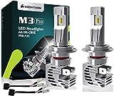 KOOMTOOM Mini todo en uno H7 Bombillas LED para faros delanteros Chip ZES Kits de alta potencia inalámbricos Plug-N-Play / Faros antiniebla / Bombillas DRL con ventilador 12000Lm 55W 12V Xenon 6500K