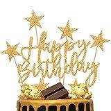 iZoeL 2 Sets Gold Cake Decoration Gold Cake Topper Happy Birthday Banner Confetti Balloon Stars Heart Cake Topper for Man Boys Women Girls Gold Theme Birthday Party Decor Hen Party(Gold)