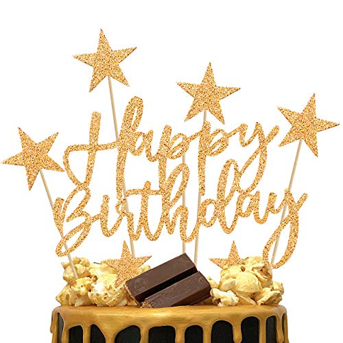 iZoeL 2 Set Oro Compleanno Torta Topper, Buon Compleanno Stella Decorazione Della Torta Per Ragazza, Ragazzo Feste Di Compleanno