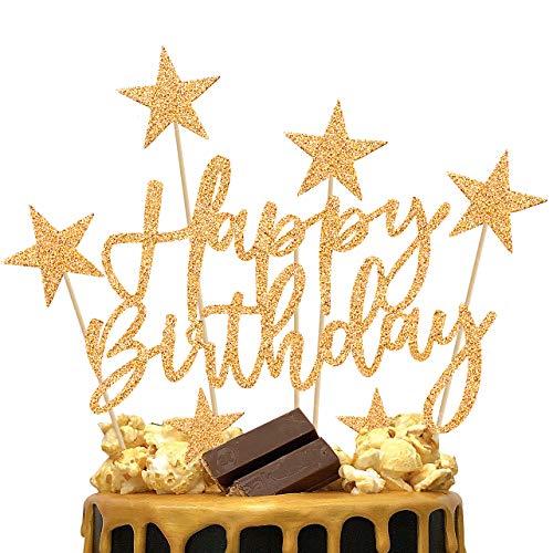 iZoeL 2 Kit Decoration Gateau Anniversaire Or Homme, Décoration Ballon Gateau Or Femme, Decor Gateau Happy Birthday Coeurs Étoiles pour Fête Anniversaire Fille Garcon