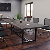 8 Foot - 16 Foot Modern Conference Room Table with Metal Base & Metal Accents (8ft w/ 0 Po...