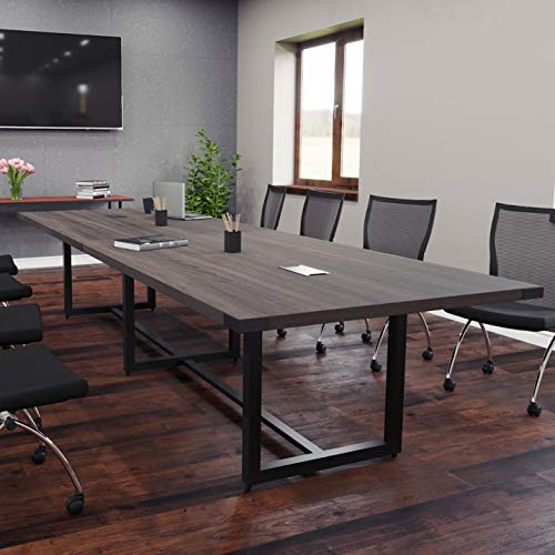 8 Foot - 16 Foot Modern Conference Room Table with Metal Base & Metal Accents (10ft w/ 0 Power Modules, Southern Tabacco w/Black Metal)